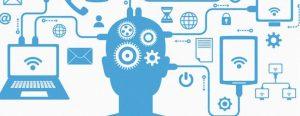 Vários dispositivos conectados a uma cabeça que faz referência à inteligência artificial e internet das coisas