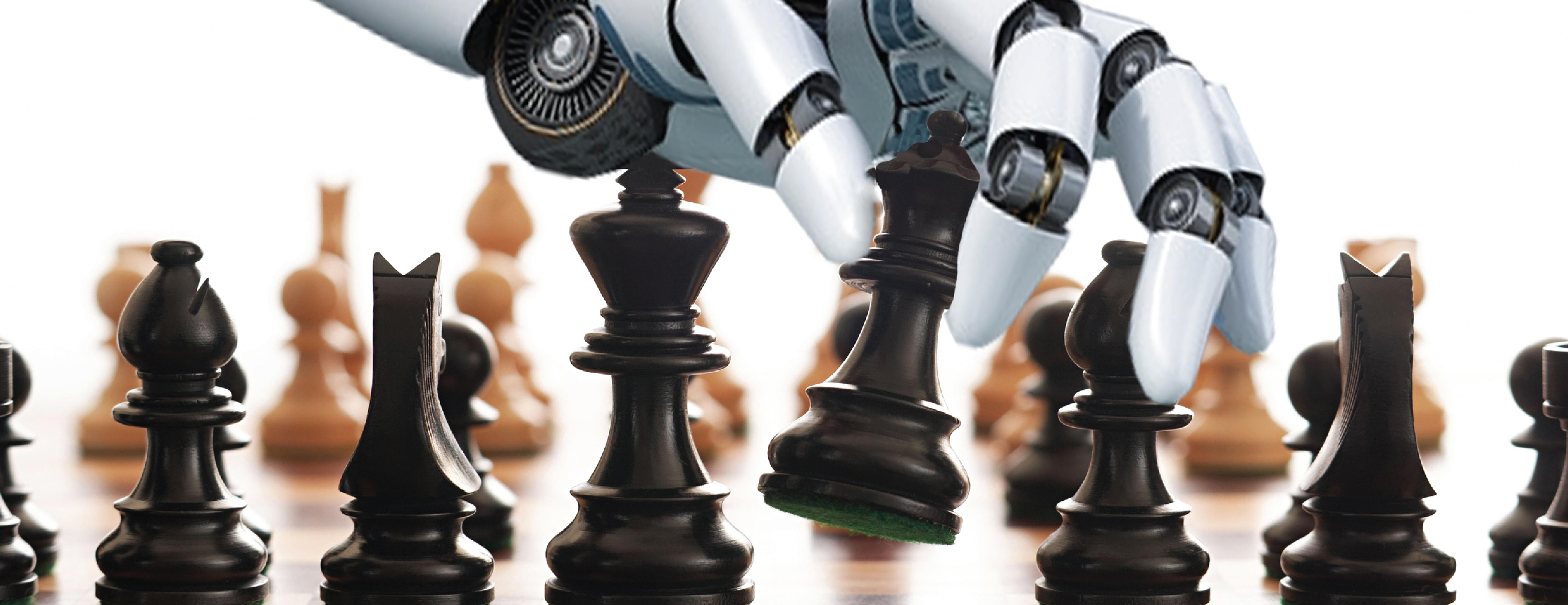 Um robô jogando xadrez ilustra o que é machine learning