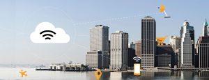 Cidades inteligentes e conectadas. Imagem mostra cidade com diversas conexões feitas principalmente por sensores